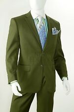 R.Orsini Men Solid Notch Lapel 2 Button Regular Fit Suit & Trouser D62T Oliv Grn