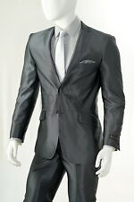 Vittorio St Angelo Shiny Shark Skin Notch 2 Button Slim Fit Suit SHARK2 Charcoal