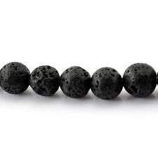 Wholesale Lots DIY Jewelry Loose Beads Lava Rock Black 10mm Dia.