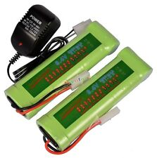 2x 8.4V NiMH 3800mAh Rechargeable Battery Pack Tamiya Plug + Charger - GREEN