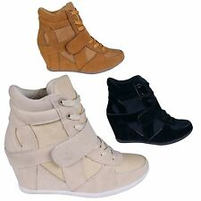 Women's Fashion Velcro Strap Concealed Wedge High Top Trainer Shoe Boots