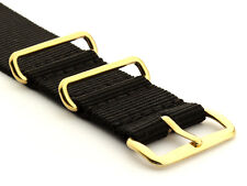 Mens Military Army Mod Nato G10 Nylon Watch Strap Band Waterproof Gold Buckle