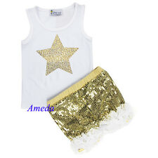 Girls Gold Sparkle White Ruffles Shorts Rhinestone Star Tank Top 2pc Outfit 1-7Y