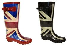 WOMENS WIDE CALF FITTING UNION JACK WELLIES WELLINGTONS BOOTS FAB211 uk3 to uk8