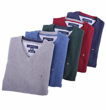 Tommy Hilfiger Men Classic Cashmere Cotton V-Neck Solid Golf Sweater - $0 Ship