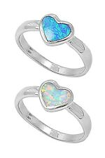 .925 Sterling Silver Inlay Blue Opal Heart Ring RO155