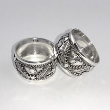 925 Bali Intricate Design Sterling Silver Wide Cigar Band Armour Ring (RG12061)