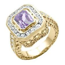 18K GOLD EP 4.95CT DIAMOND SIMULATED AMETHYST RING size 6 - 10 you choose