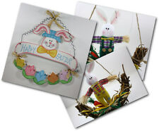 SPRING TIME EASTER BUNNY HALF WREATHS WOOD & TWIGS STRAW FUN DECORATIONS NEW