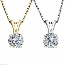 1/2 Carat Round Cut Solitaire Pendant Necklace And Chain in Solid 14K Real Gold