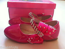 Girl's fuschia pink patent shoes with bow and diamante strap, sizes 7 - 11 BNIB