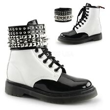DEMONIA RAGE-106 Women's Black & White Studded Ankle Cuff Punk Goth Combat Boots