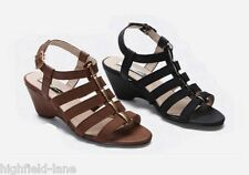 WOMENS LADIES WIDE FIT BLACK OR TAN BROWN COMFORT PLUS WEDGE SANDALS ALL SIZES