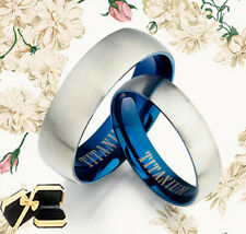 His and Her Blue Matte Wedding Rings 090A3