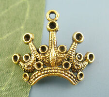 Wholesale DIY Jewelry Gold Tone Crown Beads Charms Pendants 18x24mm