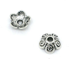 Wholesale HOT! Jewelry Silver Tone Flower Bead Caps 10x4mm Findings