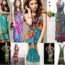 Women Ice Silk BOHO Floral Summer Beach Deep V Backless Party Maxi Long Dress