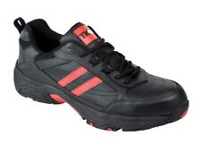 MENS SAFETY TRAINERS TK STEEL TOE BLACK LEATHER WORK SHOES SIZE 6,7,8,9,10,11,12