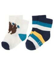 GYMBOREE BEAR HUGS BEAR N STRIPE 2-PAIR OF BOYS SOCKS 0 3 6 NWT