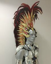 Elegant Roman Warrior Multicolor Bird Feather Mohawk Headdress Costume