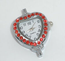 Wholesale HOT!Jewelry Silver Tone Red Rhinestone Heart Quartz Watches Faces