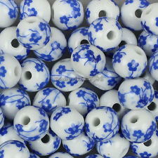 Wholesale 50pcs Blue Flower Round Ceramic Porcelain Spacer Beads 8mm,10mm,12mm
