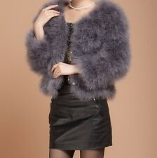 New women Real Fur Ostrich Feather Fur Coat Jacket winter Fashion luxury 31002