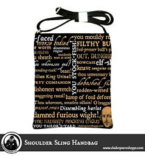 Shakespeare Bag: Shakespeare Insults Shoulder Sling Leather Handbag