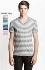 New Armani Exchange AX Mens Slim/Muscle Fit Heather Stripe V-Neck Tee Shirt