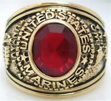 18K EP GOLD US MARINES MILITARY INLAY RING size 8 - 14 you choose ruby