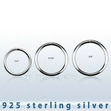 "1pc. 16G 1/4"", 5/16"", 3/8"" .925 Sterling Silver Annealed Seamless Nose Hoop Ring"