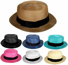 NEW MEN WOMEN STRAW SUMMER FEDORA PANAMA TRILBY CUBAN STYLE SHORT BRIM HAT
