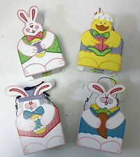SPRING TIME HAPPY EASTER BUNNY WOODEN BASKET HAND PAINTED 4 DESIGNS PASTEL COLOR