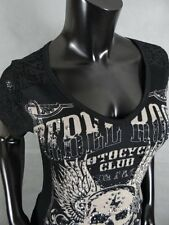 Womens Sexy Vocal In Black Wing Skull With Crystal Studs & Lace Back Design!