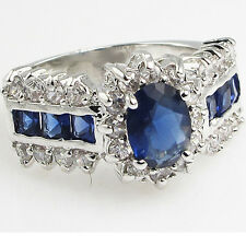 Size 6,7,8,9,10 Jewelry Woman's Blue Sapphire 10KT White Gold Filled Ring