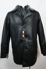 Men Real 100% Genuine Shearling Leather Sheepskin Coat Jacket Trench S-8XL NWT