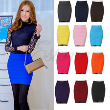 Sexy Women's A-Line Candy Color Elastic High Waist Stretchy Slim Seamless Skirt