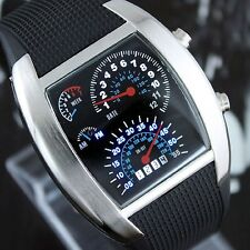 RPM Turbo Car Meter Dial Digital Watch Mens Ladies Black Rubber Band LED Light
