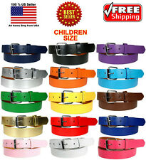 KIDS CHILDREN PLAIN SOLID COLOR LEATHER BELT Silver Buckle Boys Girls S M L XL