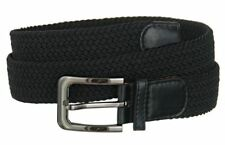 "Men's Golf Elastic 1 1/4"" Wide Stretch Belt w/ Polished Buckle & Genuine Leather"