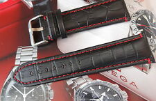 PADDED QUALITY LEATHER STRAP  FOR YOUR OMEGA WATCH RED STICH 18mm 20mm 22mm 24mm