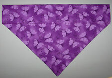 Purple Butterflies Dog Bandana Scarf - Slide over Collar - Size Small to XLarge