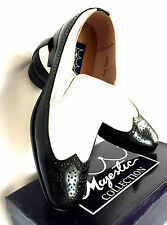 NEW MENS  DRESS SHOES LOFER SLIP ON BLACK/WHITE  MAJESTIC COLLECTION