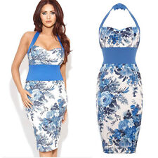 Amy Child Inspired Halterneck Bodycon Midi Dress Sleevless In size 8 to 14 Women
