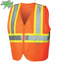 Hi Vis Orange Class 2 Safety Vest w/ Pockets MEDIUM LARGE XL 2XL 3XL 4XL 5XL