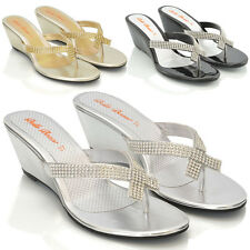 NEW WOMENS DIAMANTE TOE POST LADIES DRESSY PARTY SPARKLY WEDGE SANDALS SIZE 3-8