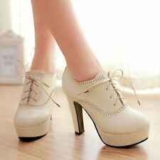 WOMEN ROUND TOE LACE UP BLOCK HEEL PLATFORM PUMP ANKLE BOOTS SHOES PLUS SIZE
