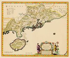 Old China Map - Guangdong Province, Kwantung and Hong Kong - Blaeu 1655 - 23x27