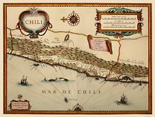 Old South America Map - Chile - Blaeu 1630 - 23 x 30.41