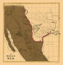 Old War Map - Mexican American War 1846 - 23 x 23.62